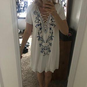 Lulu's White lace up dress
